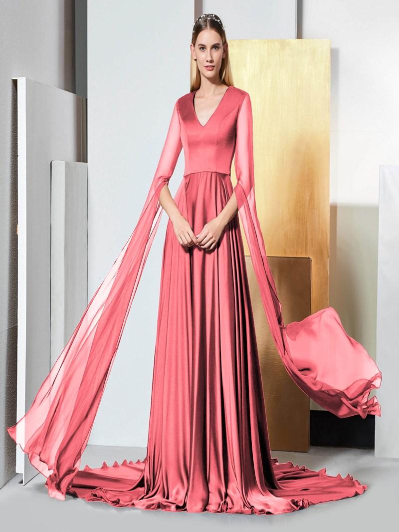 Ericdress A Line Long Sleeve Black V Neck Evening Dress