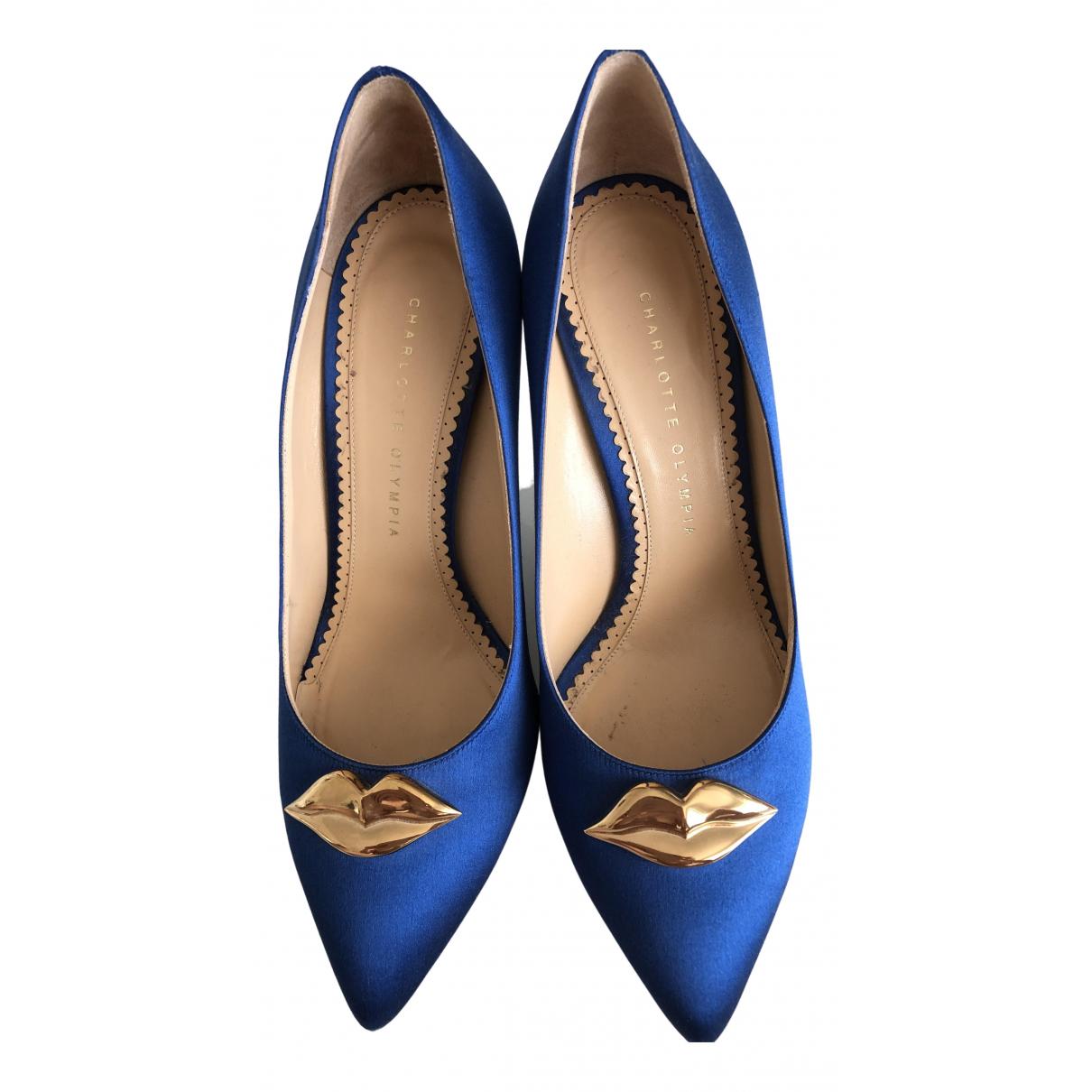 Charlotte Olympia - Escarpins   pour femme en toile - bleu
