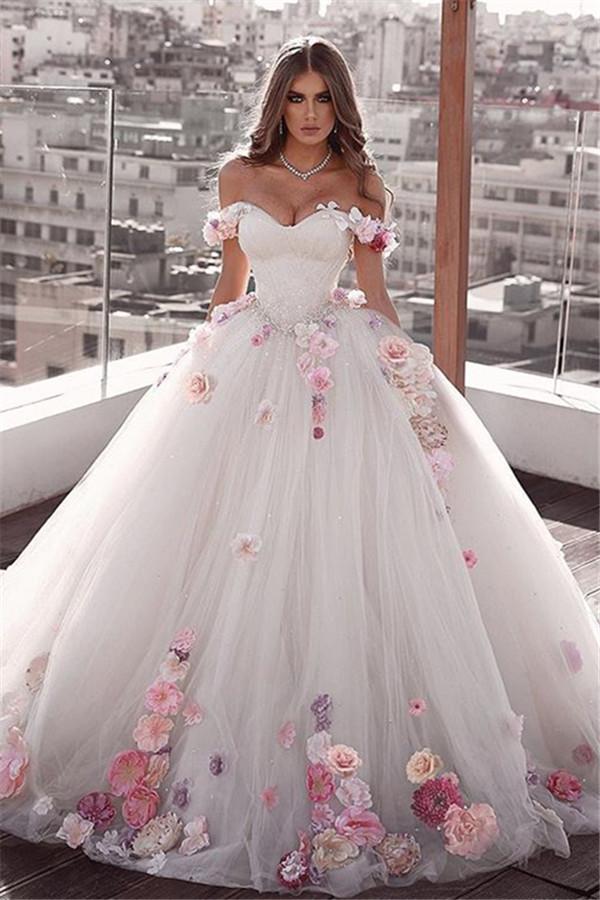 Wunderschone Spitze Hochzeitskleider Schulterfrei | Elegante Brautkleider Mit Blumen
