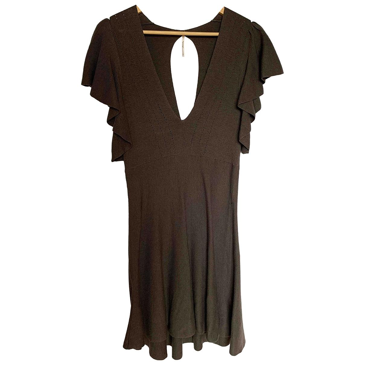 Free People \N Kleid in  Khaki Baumwolle