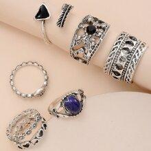 6 Stuecke Bohmischer Ring mit Edelstein Dekor