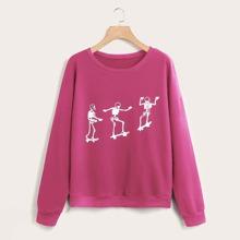 Plus Skeleton Print Drop Shoulder Sweatshirt