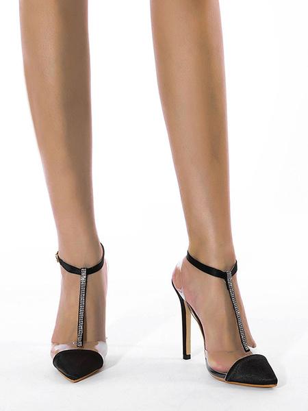 Milanoo Heel Sandals Sandals Black Stiletto Heel Pointed Toe PU Leather