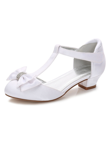 Milanoo Zapatos de Florista de puntera redonda de tacon gordo 3cm con lazo para chica