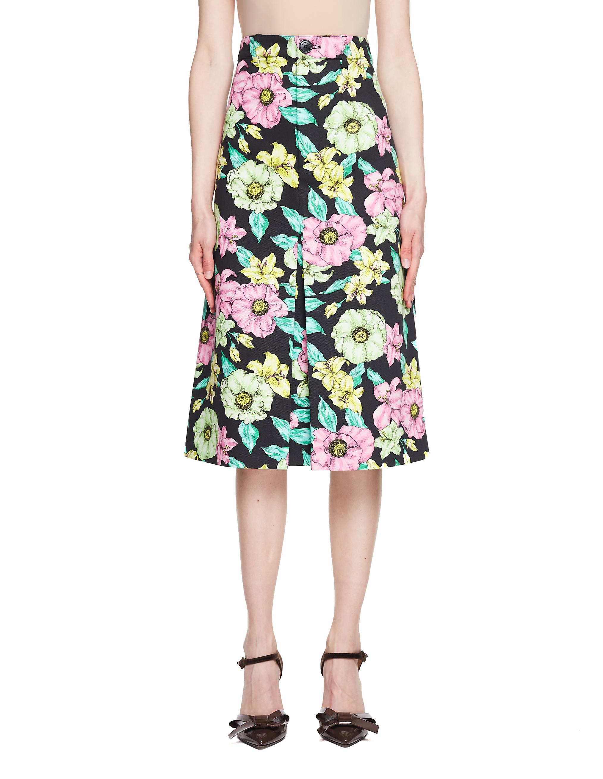 Balenciaga Flower Printed Cotton Pleat Skirt