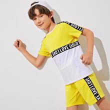 Top mit Buchstaben Muster, Farbblock & Shorts Set