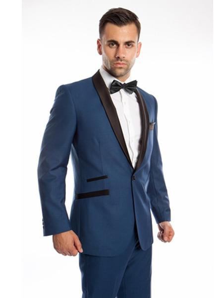 Mens 2 Piece Single Breasted Prom Suit Slim Shawl Lapel Blue Tuxedo