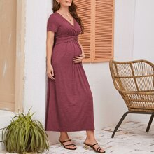Maternity Surplice Neck Ruched Detail Solid Dress