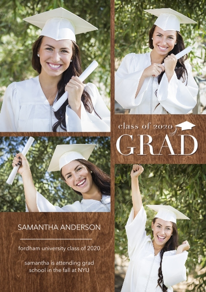 Graduation Announcements 5x7 Cards, Premium Cardstock 120lb with Scalloped Corners, Card & Stationery -Grad 2020 Collage by Tumbalina