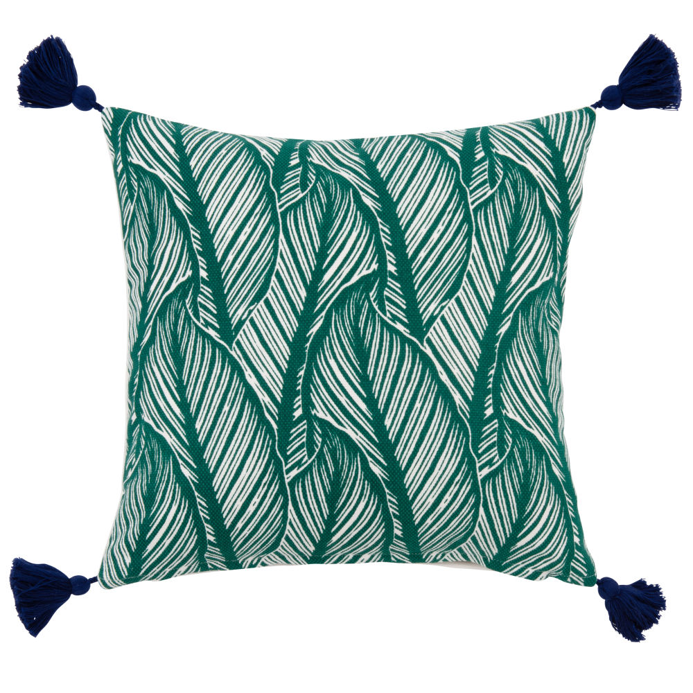 Kissenbezug aus Baumwolle, gruen, mit Blattdruckmuster 40x40