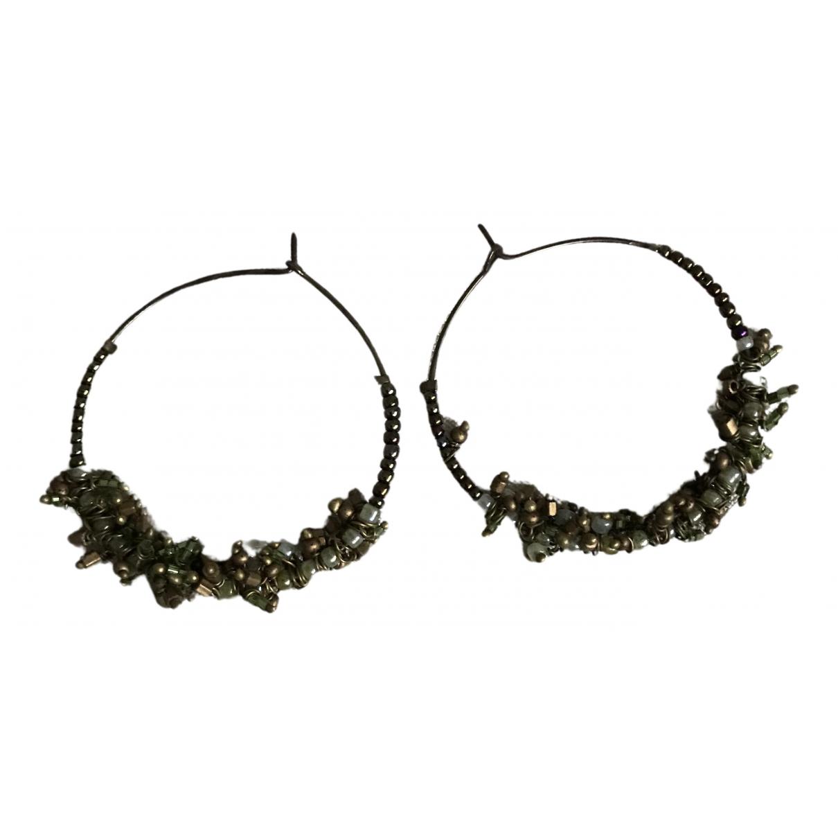 - Boucles doreilles Creoles pour femme en metal - vert