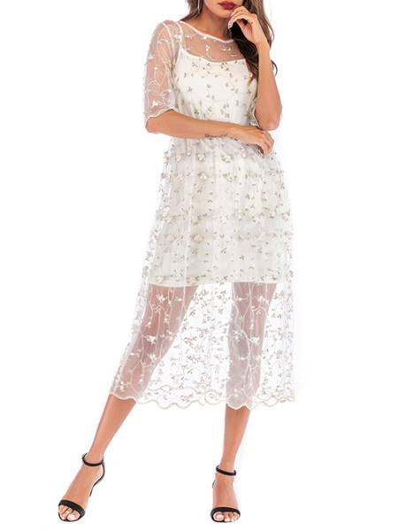 Milanoo Vestido de verano Vestido de playa blanco con estampado floral y cuello joya