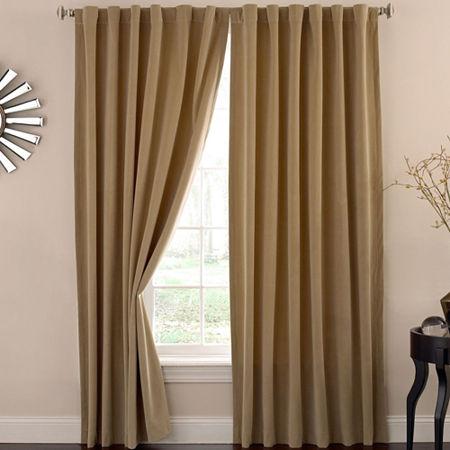 Eclipse Bradley Absolute Zero Velvet 100% Blackout Back-Tab Single Curtain Panel, One Size , Beige