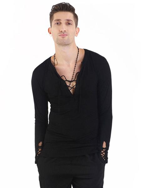 Milanoo Ballroom Dance Costume Top Men Black T Shirt Long Sleeve V Neck Training Dancing Clothes
