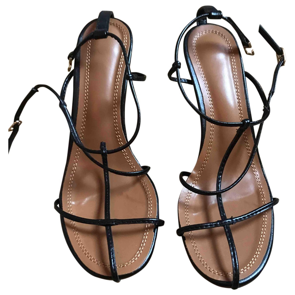 Non Signé / Unsigned N Black Leather Sandals for Women 40 EU