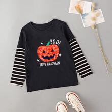 T-Shirt mit Halloween Muster und Streifen an Ärmeln
