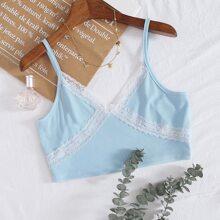 Plus Contrast Lace Cami Top
