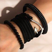 3 Stuecke Maenner Armband mit Angelhaken Dekor
