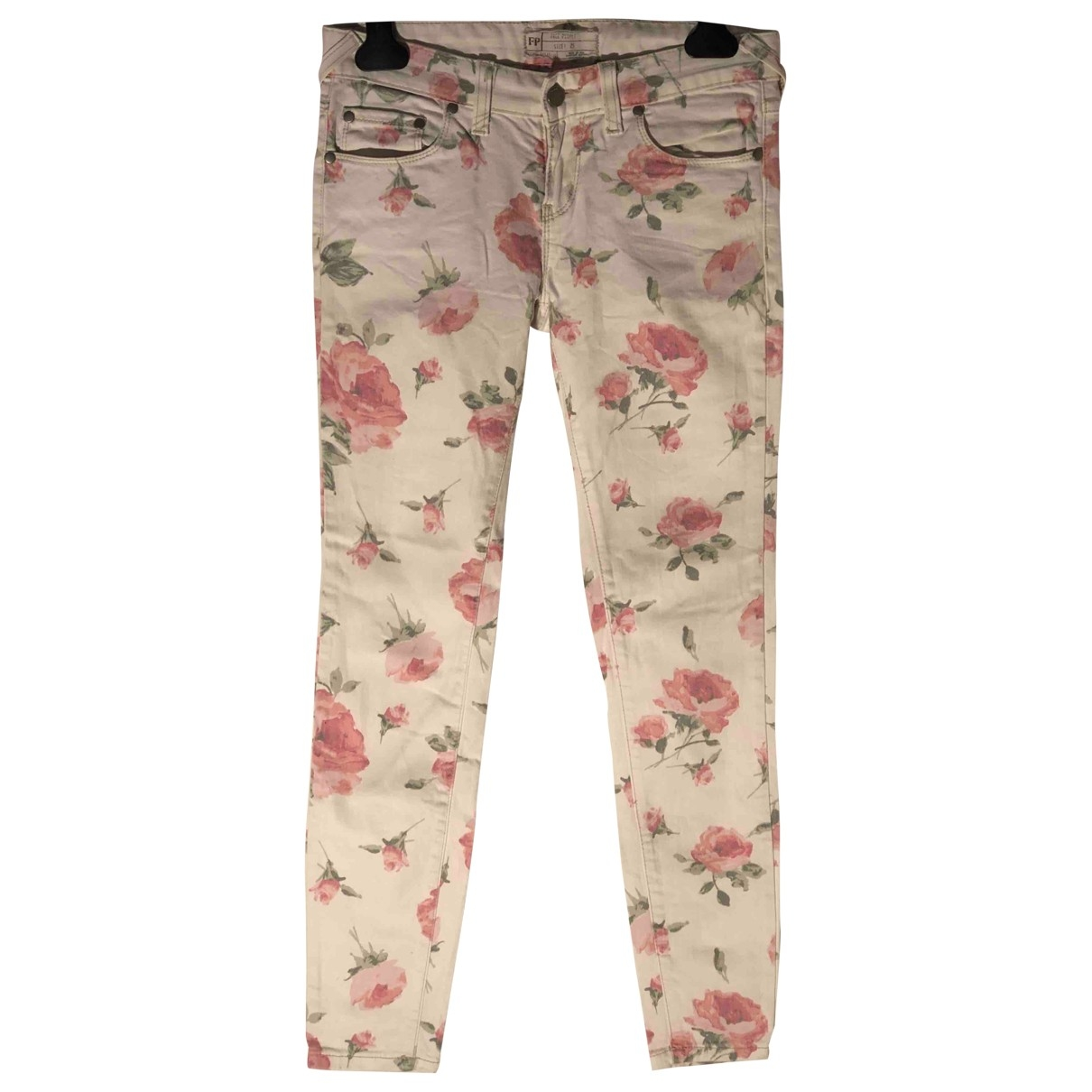 Free People \N White Cotton - elasthane Jeans for Women 25 US