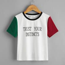 Girls Slogan Graphic Colorblock Sleeve Top