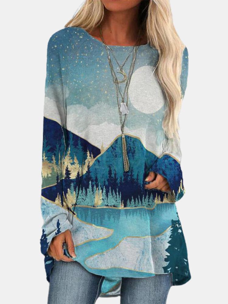 Landscape Print Long Sleeve Women Casual T-Shirt