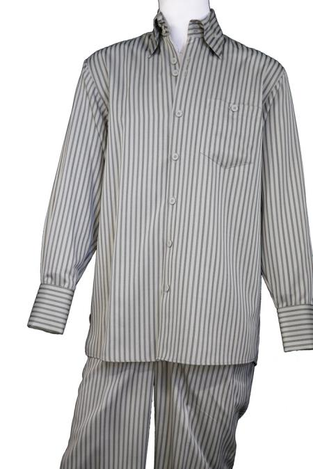 Mens Button Fastening Victorian Stripes Long Sleeve Walking Suit