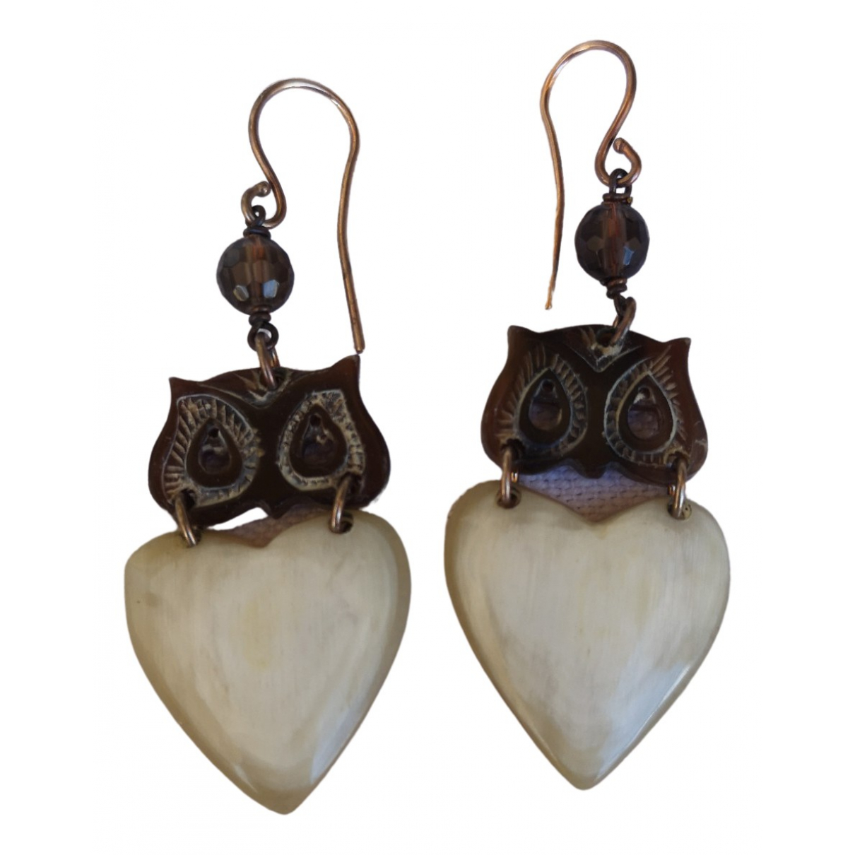 Non Signé / Unsigned Motifs Ethniques Brown Horn Earrings for Women \N