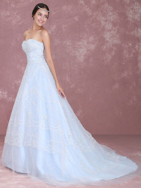 Milanoo Blue Wedding Dress Lace Sweetheart Strapless Beading Court Train A-Line Bridal Gown