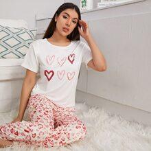 Heart Print Short Sleeve PJ Set