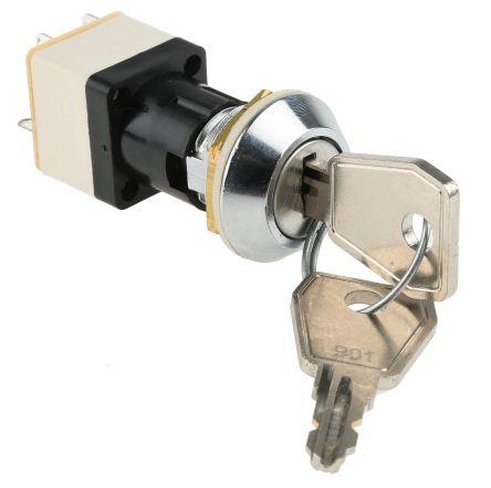 Lorlin IP67 Key Switch, DPST, 4 A @ 250 V ac 2-Way, -25 → +85°C