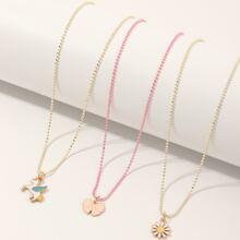 3 piezas collar de niñitas con flor