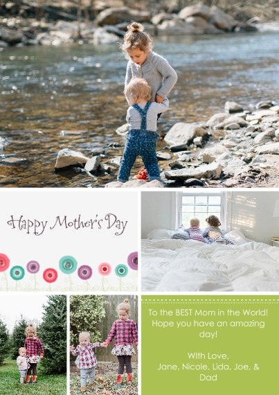 Mothers Day Cards Flat Matte Photo Paper Cards with Envelopes, 5x7, Card & Stationery -Blossoming Montage
