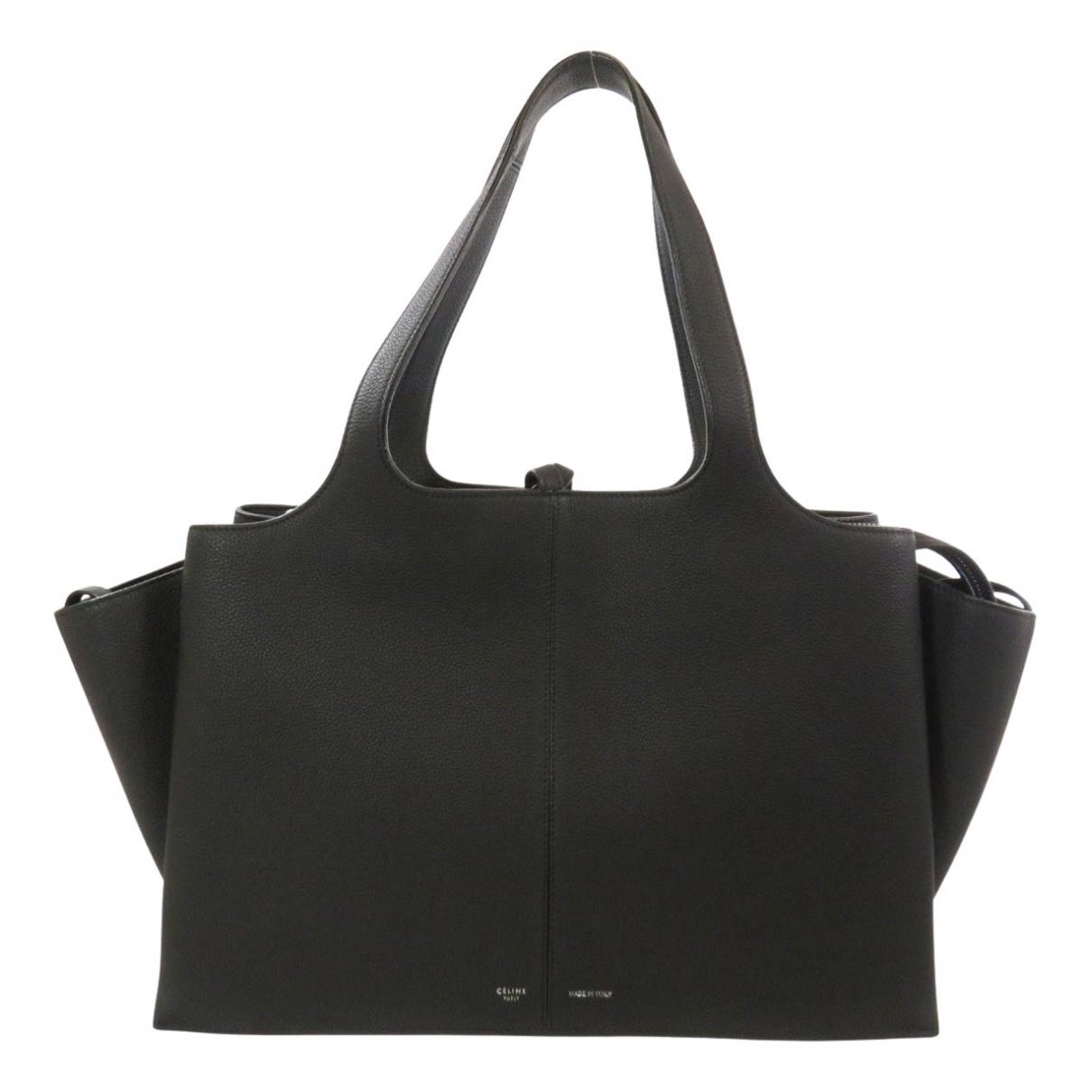 Celine Tri-Fold Handtasche in  Schwarz Leder