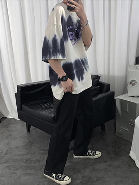 Yoins Men Summer Casual Cotton Soft Letter Tie Dye Print Ombre T-Shirt