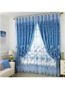 European Style Blue Burnout and Embroidered Floral Blackout Curtains