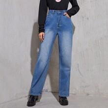 Bleach Wash High-Rise Boyfriend Jeans