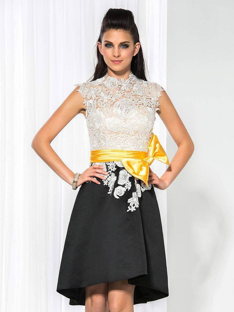 Ericdress High Neck Bowknot Lace Asymmetrical Length Cocktail Dress