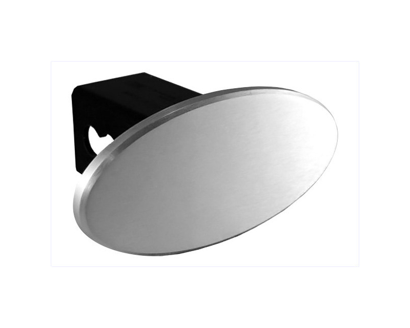 Defenderworx 25222 2-Inch Billet Hitch Cover 3.5-Inch Oval with Blank Polished Logo Universal