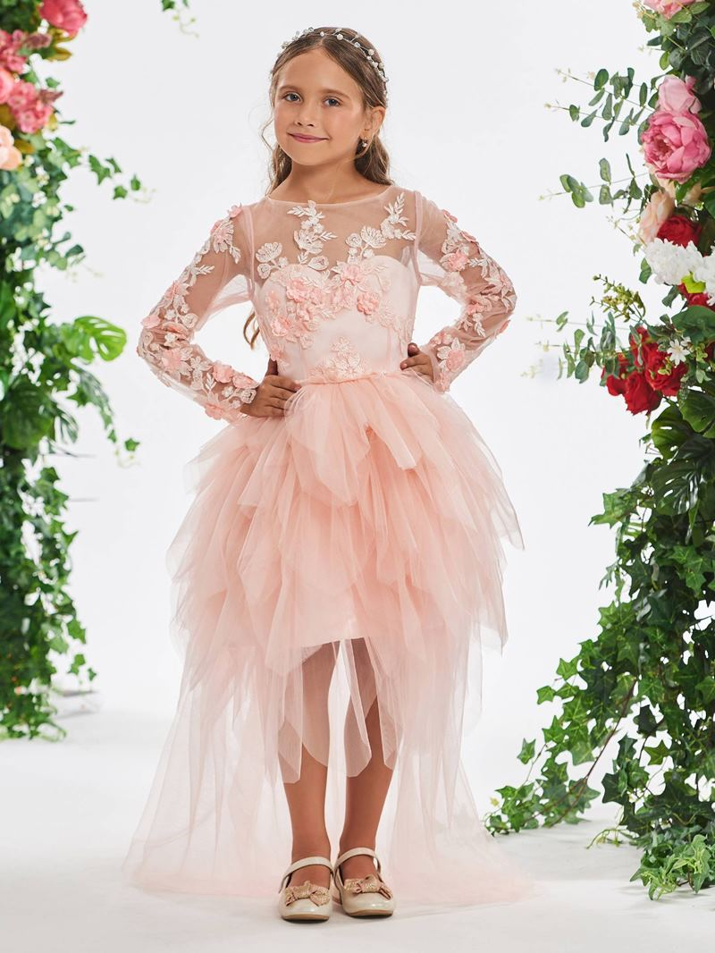 Ericdress 3D Floral A-Line Long Sleeves Flower Girl Dress