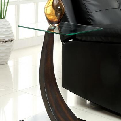 Valon CM-AC151 Side Table with Contemporary Style  8mm Tempered Glass  Curved Panel Base Design  Solid Wood and Others in Dark