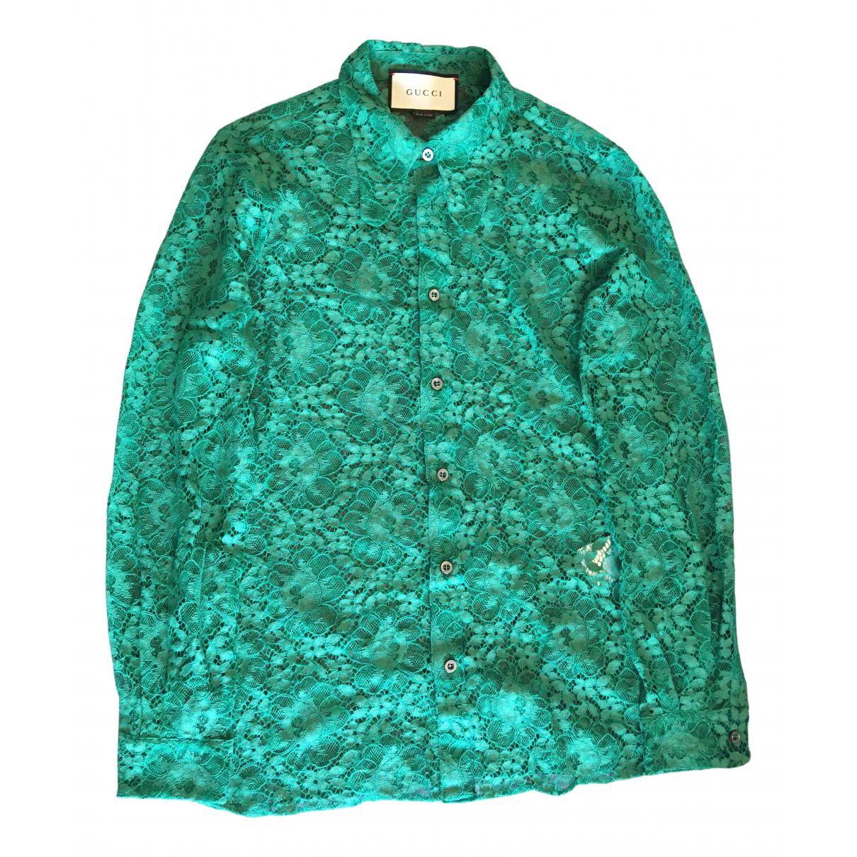 Gucci \N Green Cotton Shirts for Men S International