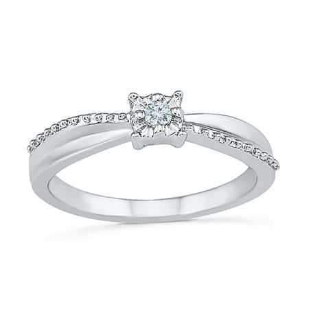 Promise My Love Womens Diamond Accent Genuine White Diamond Sterling Silver Promise Ring, 7 , No Color Family