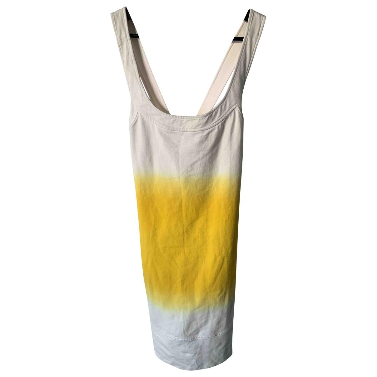 Diane Von Furstenberg \N Yellow Cotton - elasthane dress for Women 2