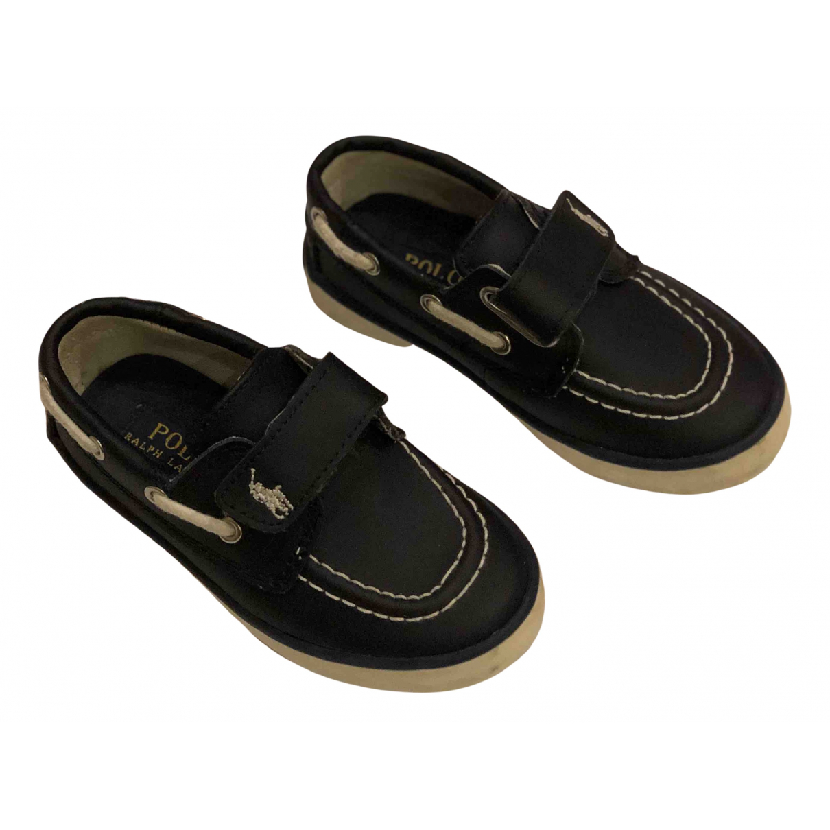 Polo Ralph Lauren N Navy Leather Flats for Kids 6 UK