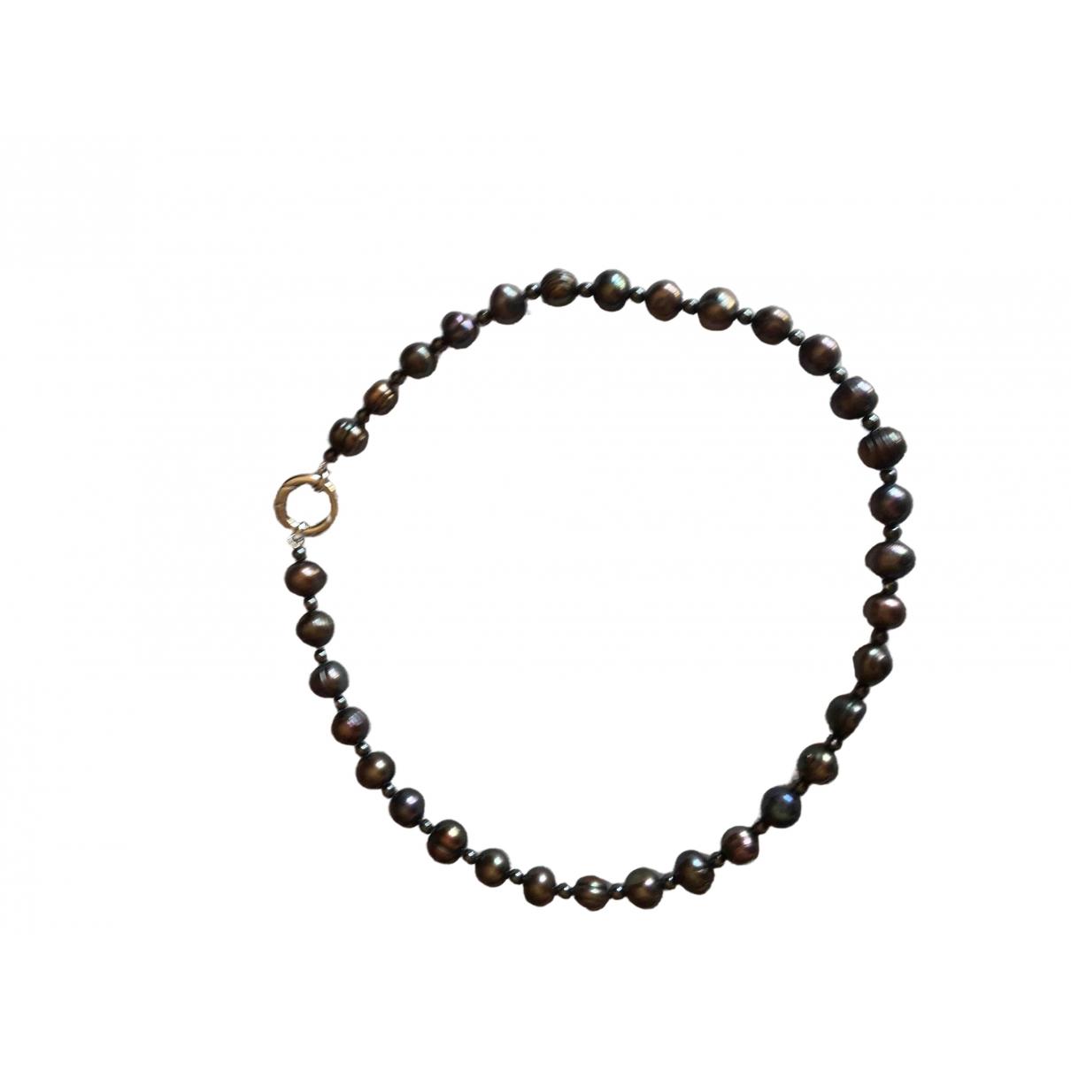 - Collier   pour femme en perles - anthracite