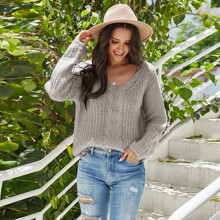 Cable Knit Double V-neck Sweater