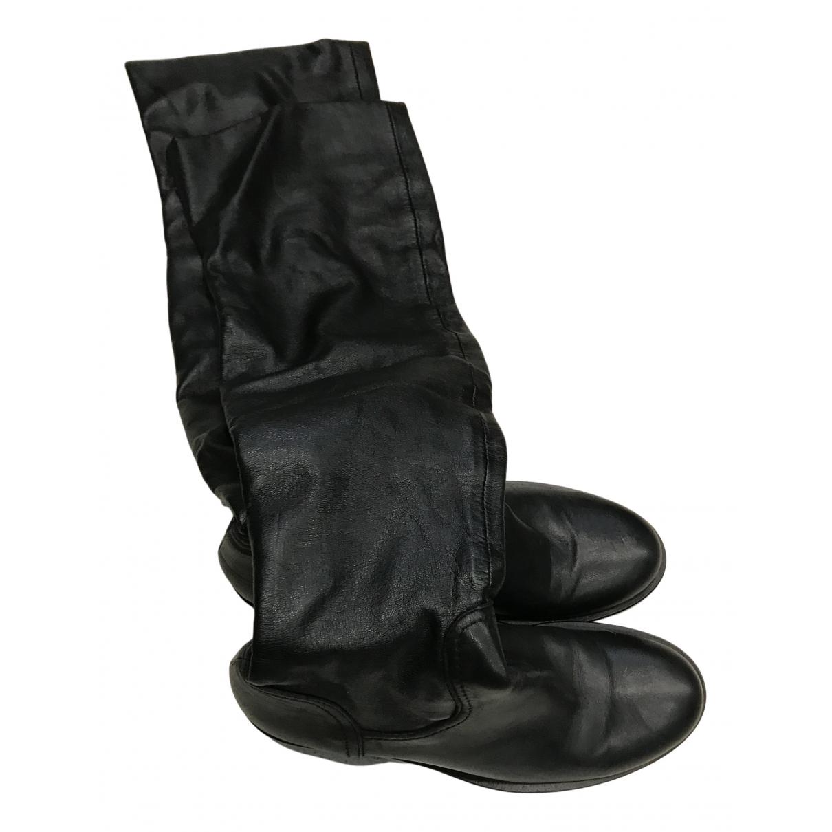 Non Signe / Unsigned \N Stiefel in  Schwarz Leder