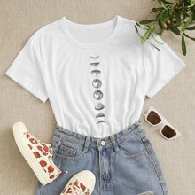 Plus Moon Print Short Sleeve Tee