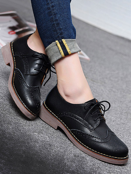 Milanoo Stylish Oxfords Chic Round Toe PU Leather