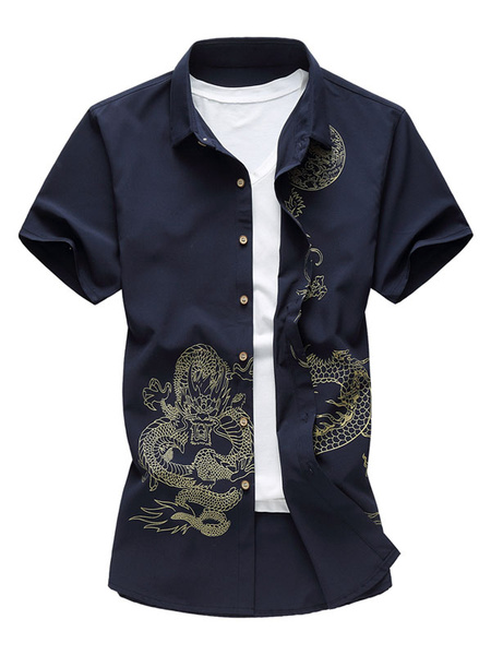 Milanoo Cotton Men Shirt Plus Size Chinese Dragon Print Regular Fit Short Sleeve Shirt Casual